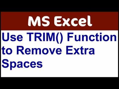 Excel Trim Function Removes Spaces