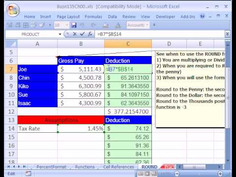 Excel Busn Math 07: When ROUND function Is Required