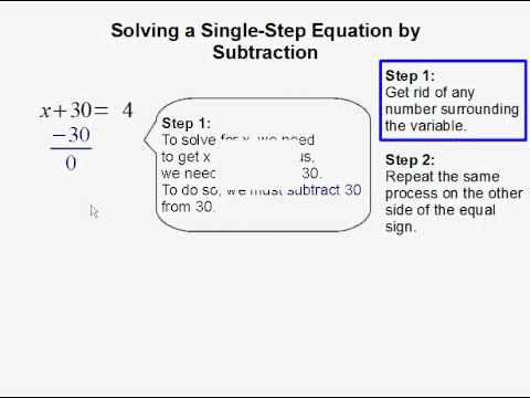 Solving a Single Step Equation by Subtraction