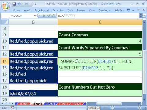 Excel Magic Trick 289: LEN & SUBSTITUTE functions Counting Tricks