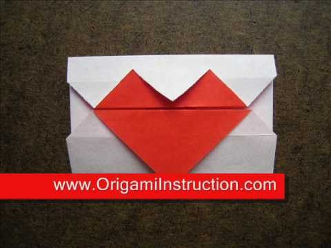 How to Fold Simple Origami Heart Envelope - OrigamiInstruction.com
