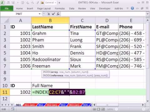 Excel Magic Trick 901: Lookup First & Last Name From 2 Different Cells & Return Then To 1 Cell