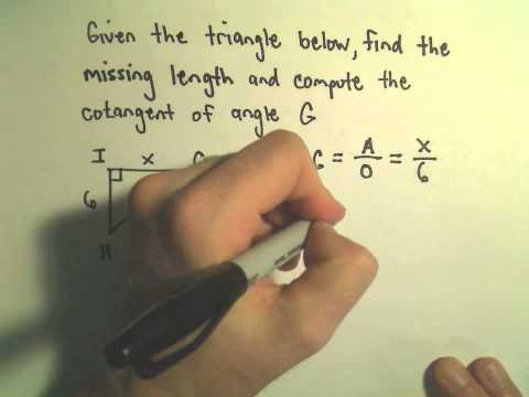 Finding Trigonometric Function Values Given One Trig Value in a Right Triangle, Ex 3