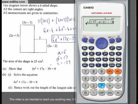 (Q265) A Star GCSE Revision Questions Quadratic Problem solving