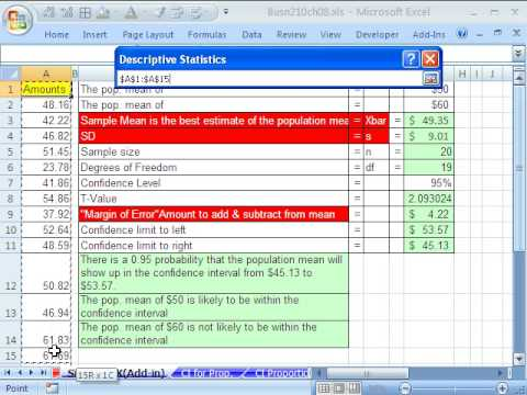 Excel Statistics 84 Confidence Interval Data Analysis Add-in Descriptive Statistics
