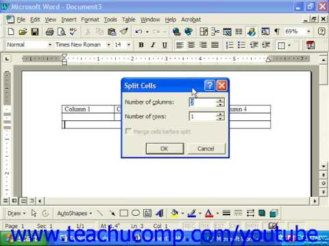 Word 2003 Tutorial Merging and Splitting Cells Microsoft Training Lesson 16.5