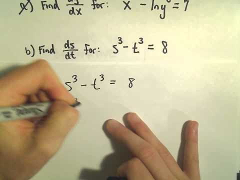 Implicit Differentiation - Basic Example 2 / 3