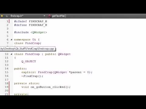 C++ GUI with Qt Tutorial - 11 - Coding the FindCrap Program