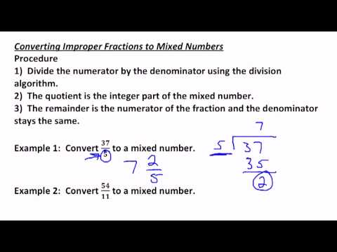A Lesson on Converting Improper Fractions to Mixed Numbers