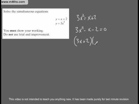(Q75) A Star GCSE Revision Questions linear and quadratic simultaneous equations