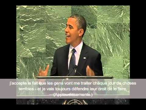 Obama Address at U.N. : Protect Free Speech with French Subtitles