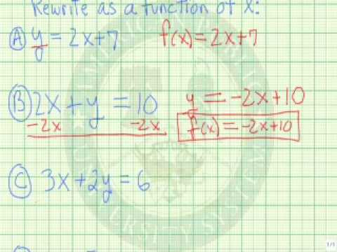 Express the Equation of a Line as a Linear Function