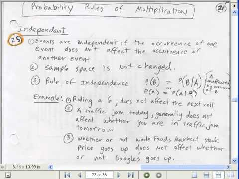Excel 2010 Statistics #37: Probability Laws (by hand notes) Adding, Multiplying and More