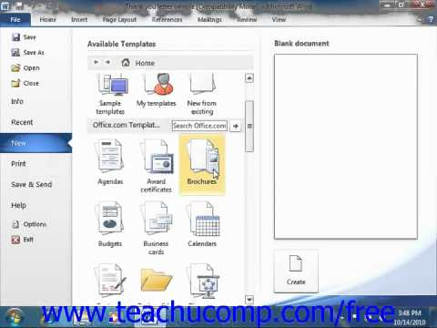Word 2010 Tutorial Using Templates-2010 Microsoft Training Lesson 8.1