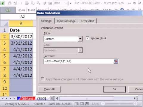 Excel Magic Trick 895: Entered Date Must Be Greater or Equal to Any Dates Above Data Validation