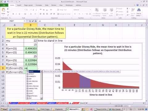 Excel 2010 Statistics 63: Exponential Probability EXPON.DIST function