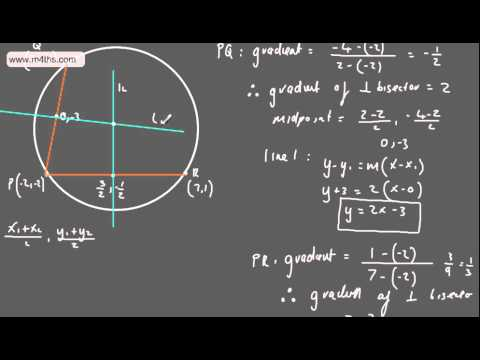 (10) C2 Equation of a Circle (Finding the centre given chords (harder) (core 2 edexcel)