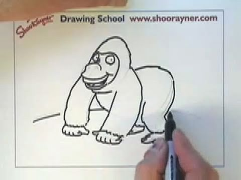 How to draw a cartoon Gorilla - Shoo Rayner