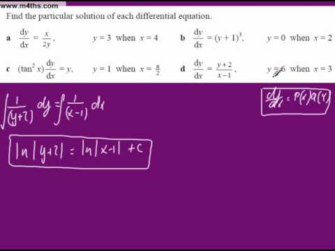 (8) Separable differential Equations Core 4 (particular solution 2 logs)