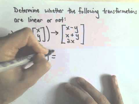 Linear Transformations , Example 1, Part 1 of 2