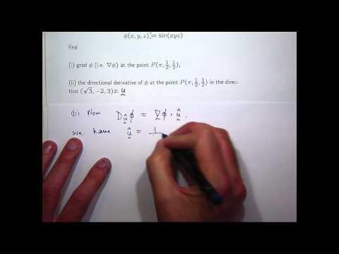 Grad, directional derivative + tangent plane example