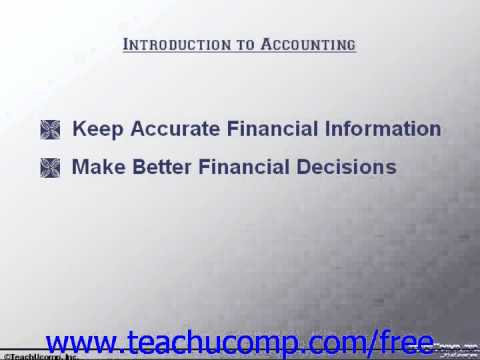 Accounting Tutorial Introduction to Accounting Training Lesson 1.1