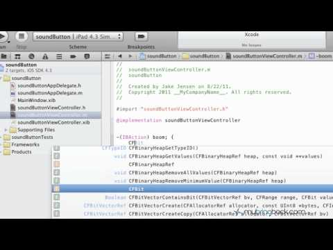 Learn Xcode 4 Tutorial iOS iPad iPhone 1.20 Playing Sound With Button