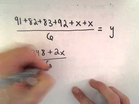 Linear Equation, Word Problem #1 : Averages