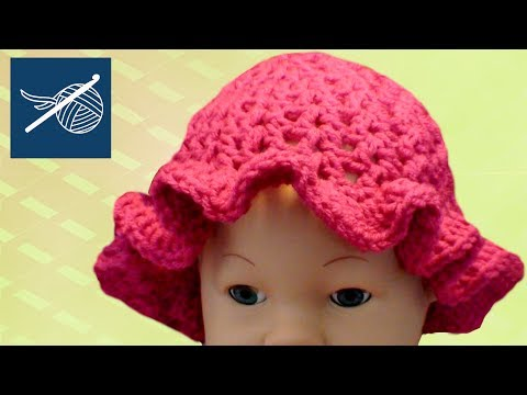 Left Hand Child Size Crochet V-Stitch Cap with Ruffle - Lightweight Summer - Oh Baby