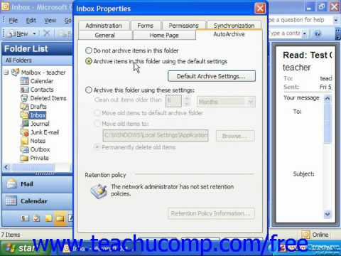 Outlook 2003 Tutorial Setting AutoArchiving for Folders 2003 Microsoft Training Lesson 11.3