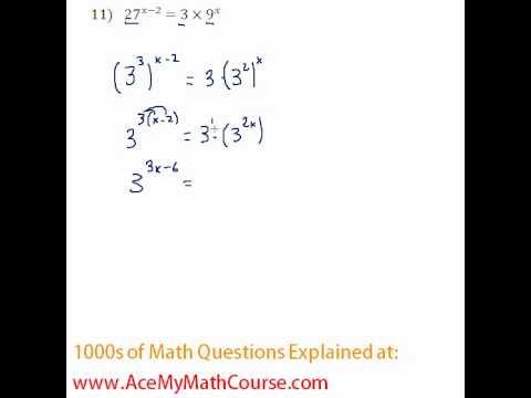 Exponents - Solving Exponential Equations #11