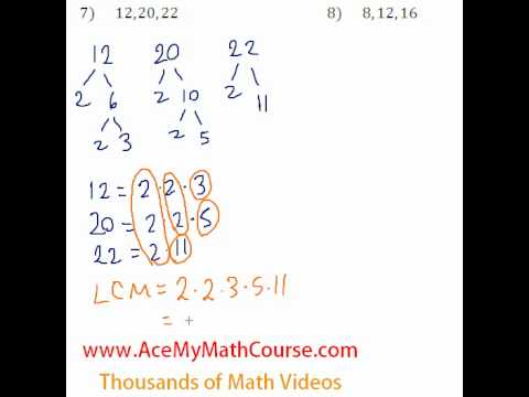 Basic Algebra Review - Least Common Multiple (LCM) #7-8