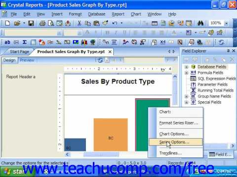 Crystal Reports Tutorial Formatting a Data Series Business Objects Training Lesson 12.8
