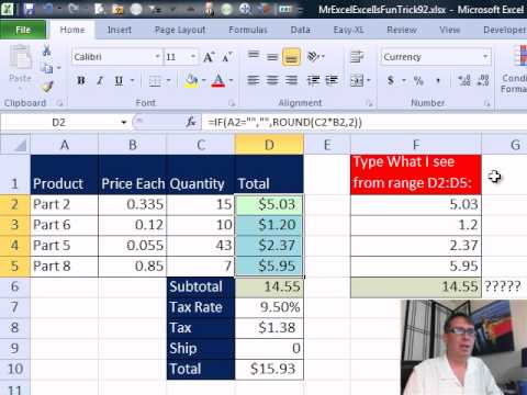 Mr Excel & excelisfun Trick 92: Round Invoice: ROUND or SUMPRODUCT - ROUND