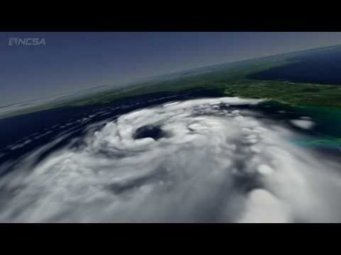 Hurricane Katrina at peak intensity: ultra hi-rez computer simulation