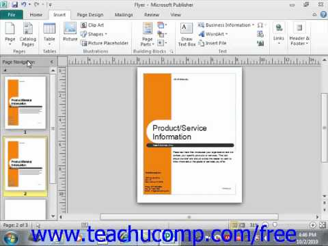 Publisher 2010 Tutorial Inserting New Pages Microsoft Training Lesson 2.6