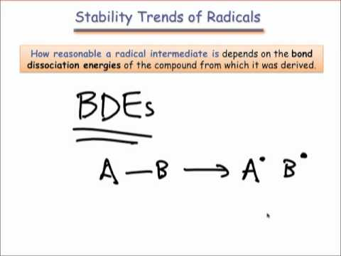 Radical Stability Trends, BDEs, & Initiation
