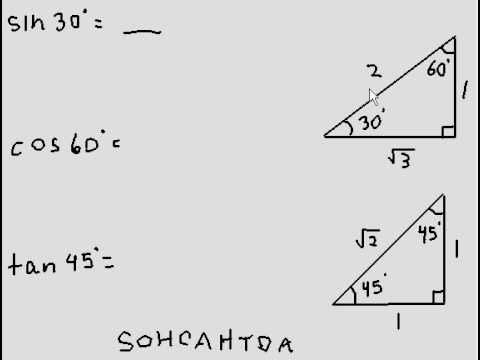 SOHCATOA and special triangles to find sine, cosine and tangent of angles