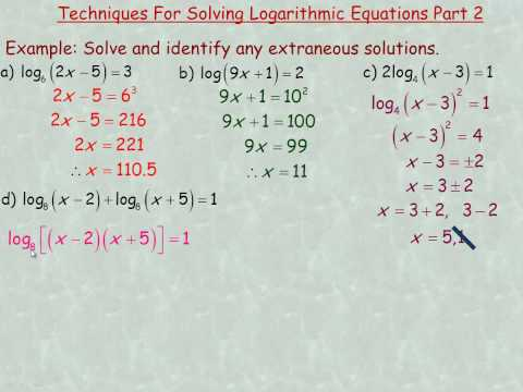 Techniques For Solving Logarithmic Equations (More Examples).mp4