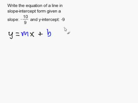 Writing an Equation in Slope Intercept Form Given the Y-Intercept
