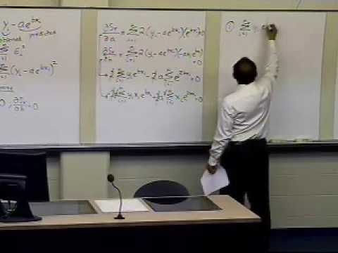 Exponential Model Regression: Derivation: Part 2 of 2