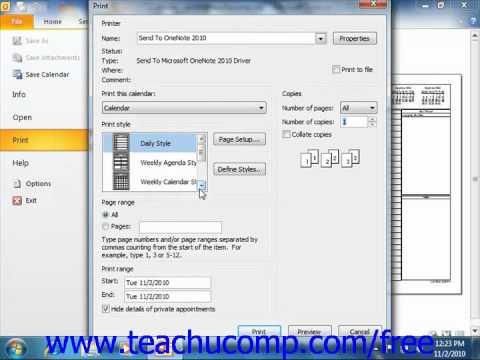 Outlook 2010 Tutorial Printing the Calendar Microsoft Training Lesson 6.13