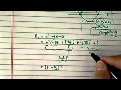 *Vertex Point of Quadratics: Max/Min of quadratic equations