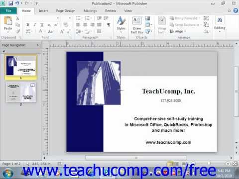 Publisher 2010 Tutorial Inserting Shapes Microsoft Training Lesson 3.2