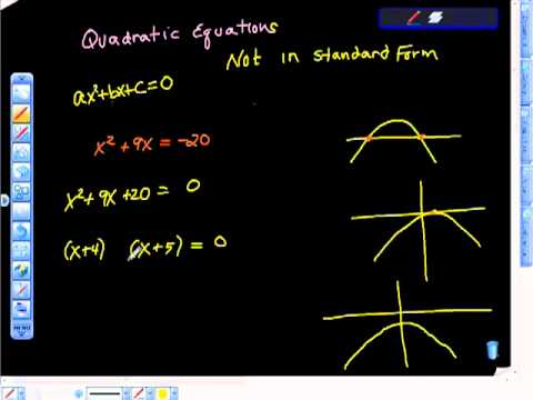Quadratic Equations Factoring Not in Standard Form.