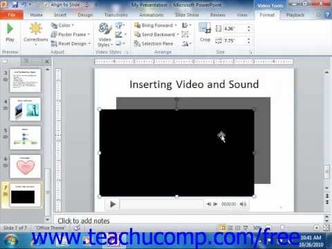 PowerPoint 2010 Tutorial Inserting Videos Microsoft Training Lesson 12.1