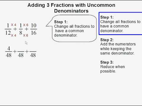 Adding 3 Fractions with Uncommon Denominators