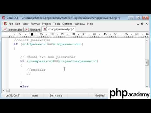 PHP Tutorials: Register & Login: User password change (Part 2)