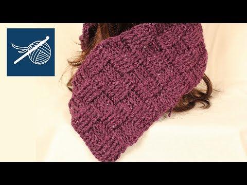 Crochet Geek - Crochet BasketWeave Scarf - Left Hand Scarf