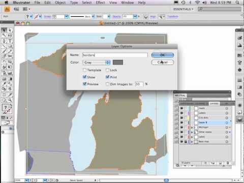 Part 6 of 9: Adobe Illustrator map tutorial BORDERS AND LAKES